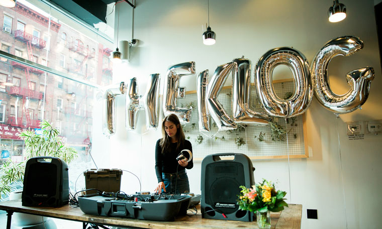DJ Claire Schlissel playing some some K-pop at The Klog new site launch party