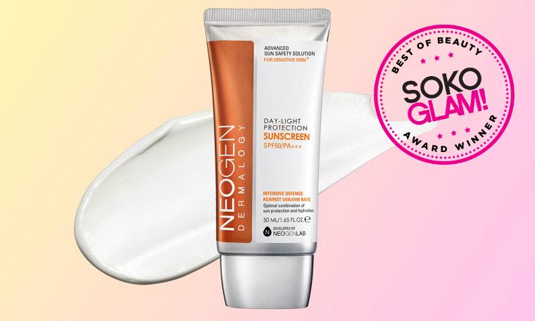 Neogen Day Light Sun Protection Sunscreen SPF 50 won the 2016 best non-sticky sunscreen award from Soko Glam